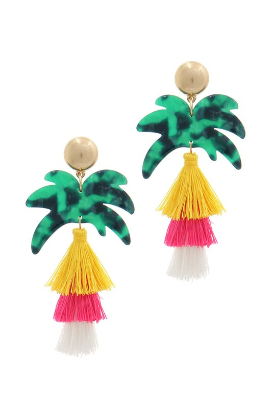 PALM TREE TASSEL EARRINGS