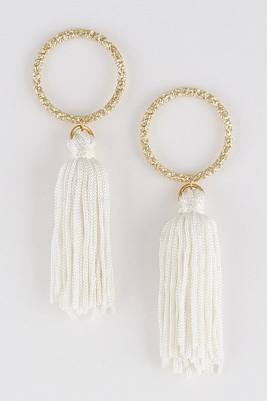 GOLD IVORY TASSEL EARRINGS