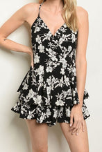 Load image into Gallery viewer, GINLEY BLACK FLORAL ROMPER