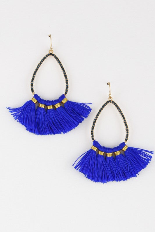 BLUE TEARDROP TASSEL EARRINGS