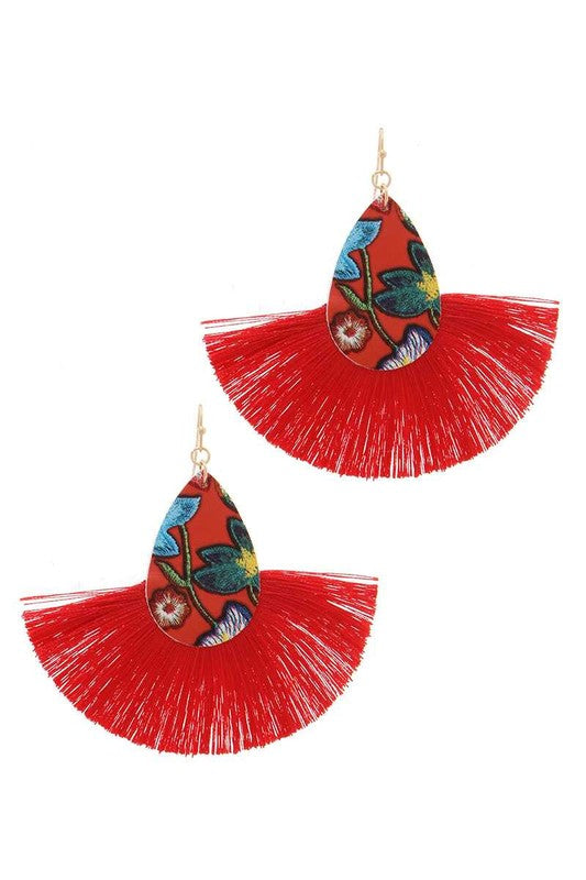RED FLORAL TASSEL EARRINGS