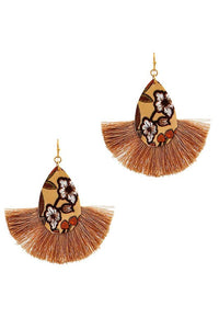 BROWN FLORAL TASSEL EARRINGS