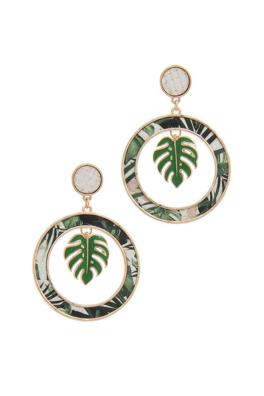 TROPICAL LEAF ROUND EARRINGS