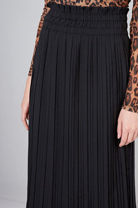 JESSE PLEATED LONG BLACK SKIRT