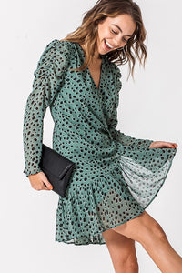 JOJO GREEN POLKA DOT WRAP DRESS