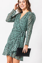 Load image into Gallery viewer, JOJO GREEN POLKA DOT WRAP DRESS
