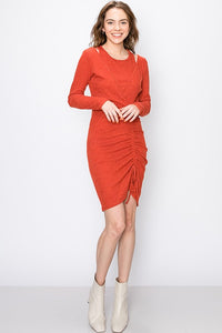 GLADYS RUST RUCHE DRESS