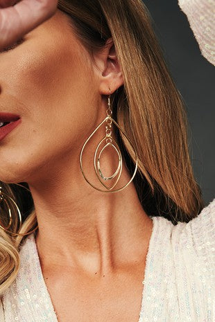 ANTIQUE GOLD HOOP LAYERED EARRINGS