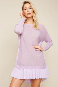 LIBBY LAVENDER KNIT SHEER SWEATER DRESS