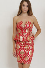 Load image into Gallery viewer, NORA RED PEPLUM TOP & SKIRT SET
