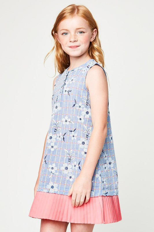 HAILEY KIDS BLUE FLORAL DRESS
