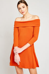LEXIE RUST OFF THE SHOULDER DRESS