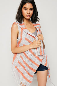 EVIE GREY & CORAL KNIT VEST