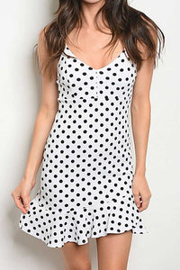 ELIANA WHITE POLKA DOT RUFFLE DRESS