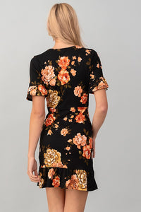 EVELYN BLACK FLORAL DRESS