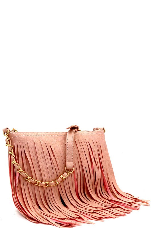 STEPHANIE FRINGED CROSS BODY BAG