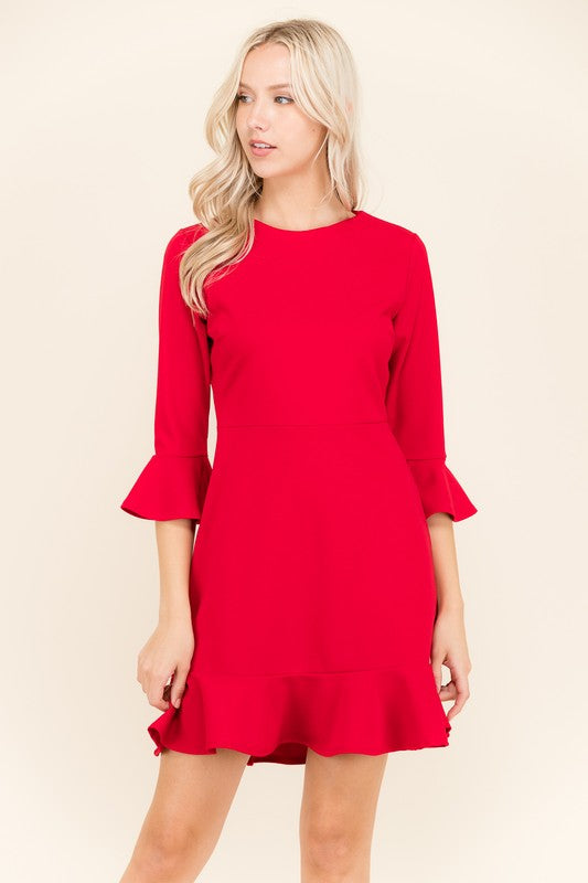 LISA YOU'RE ON FIRE RED RUFFLE DRESS