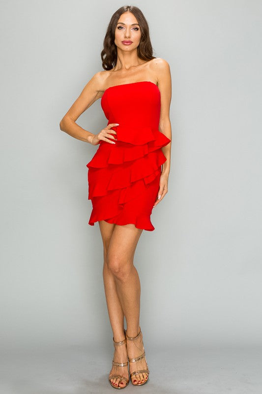 ANNIE TIERED RED DRESS
