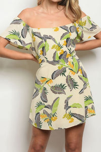 NATALIE TROPICAL OFF THE SHOULDER DRESS
