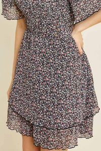 CHARLOTTE PLEATED TIERED FLORAL DRESS