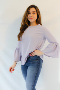 LILA FLOUNCE BELL SLEEVE SOFT LAVENDER BLOUSE