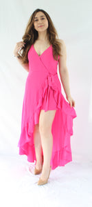 JESSICA CALL ON ME HOT PINK MAXI ROMPER