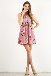 RILEY FLORAL MAUVE DRESS