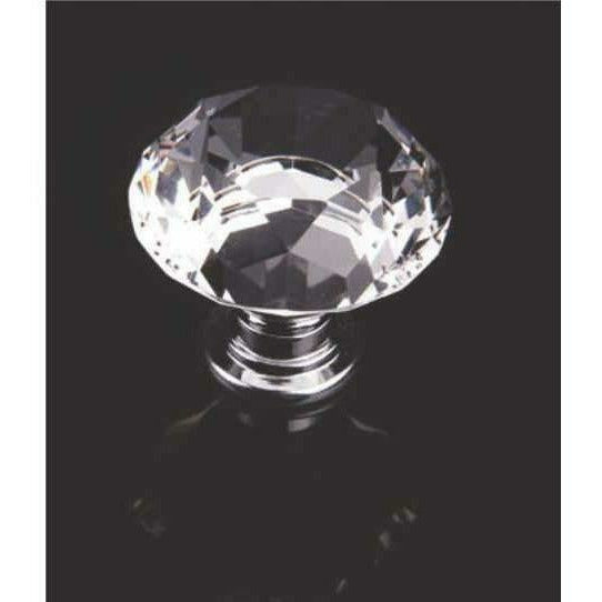 Diamond shape crystal knob with chrome base - Decor Handles