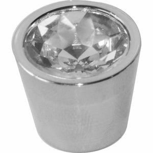CHROME KNOB WITH CRYSTAL DIAMANTE SET IN - 20MM