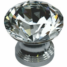 Load image into Gallery viewer, CRYSTAL KNOB SET IN CHROME BASE DIAMOND SHAPED