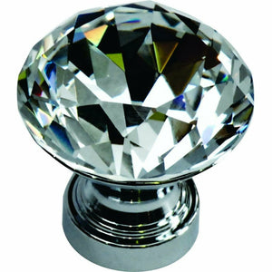 CRYSTAL KNOB SET IN CHROME BASE DIAMOND SHAPED