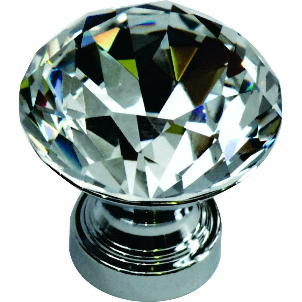 Crystal knob set in chrome base diamond shaped - Decor Handles