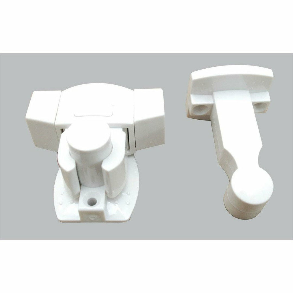White plastic door stop - floor & wall mount - Decor Handles