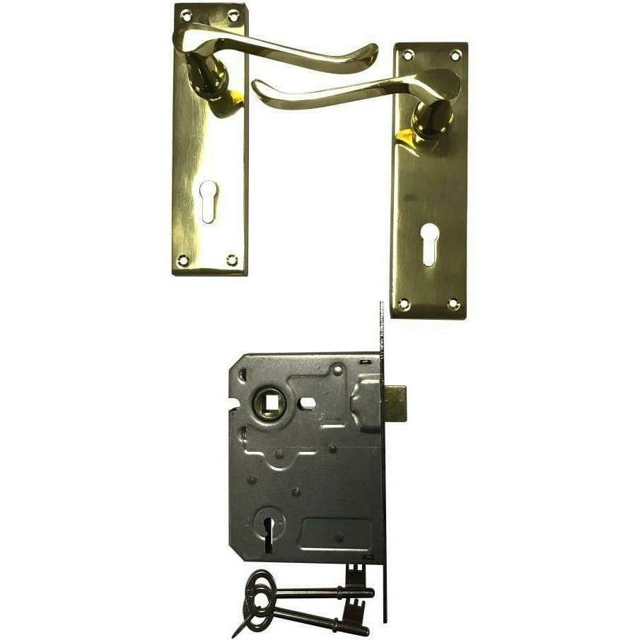 Solid brass victorian lever handle on back plate with 2 lever lock - Decor Handles