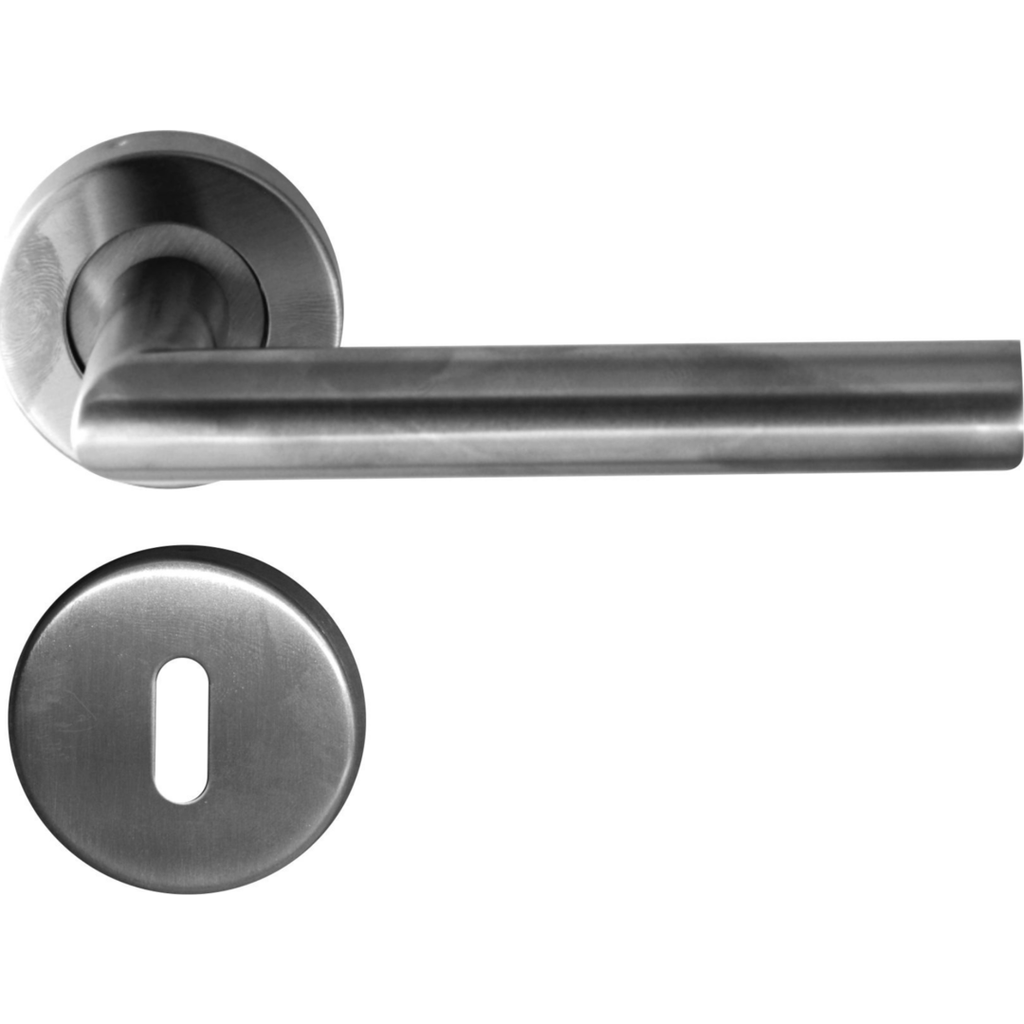 Stainless steel tubular lever handle on rose with 2 lever lock - Decor Handles