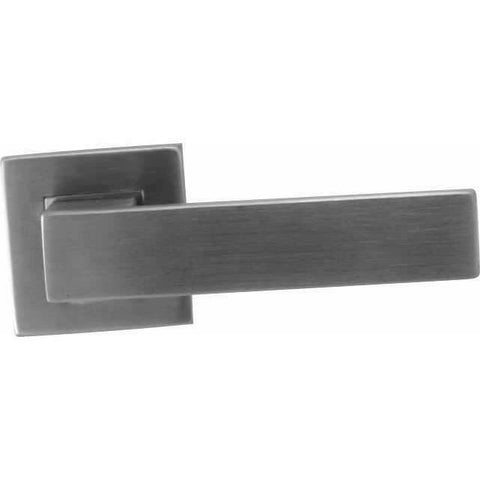 Square stainless steel lever handle on rose - Decor Handles