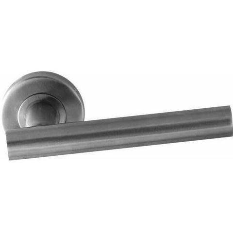 Stainless steel tubular lever handle on rose with notch - Decor Handles