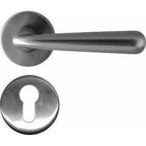 SOLID STAINLESS STEEL LEVER HANDLE ON ROSE