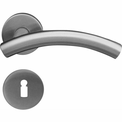 Half moon stainless steel lever handle on rose - Decor Handles