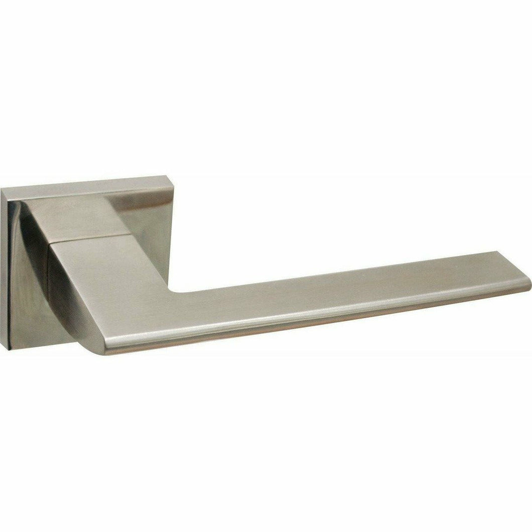 Slim square solid stainless steel lever handle on rose - Decor Handles