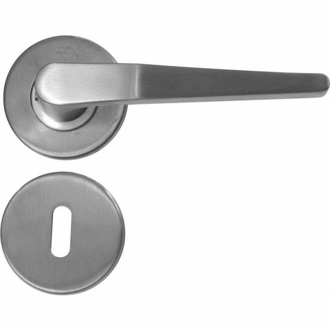 Narrow & indented stainless steel lever handle on rose - Decor Handles