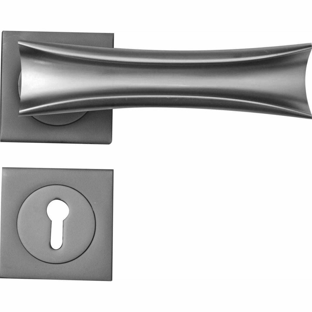 Folded lever handle on rose - matt chrome