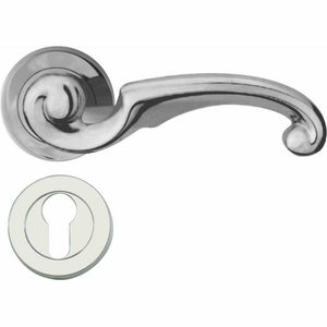 Solid brass twirled lever handle on rose - Decor Handles