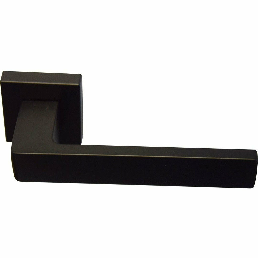 Square italian lever handle on rose - matt black - Decor Handles