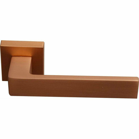 Square italian lever handle on rose - matt copper - Decor Handles