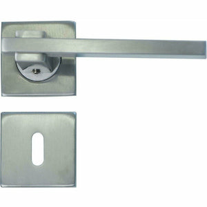 SLIM SQUARE STAINLESS STEEL LEVER HANDLE ON ROSE