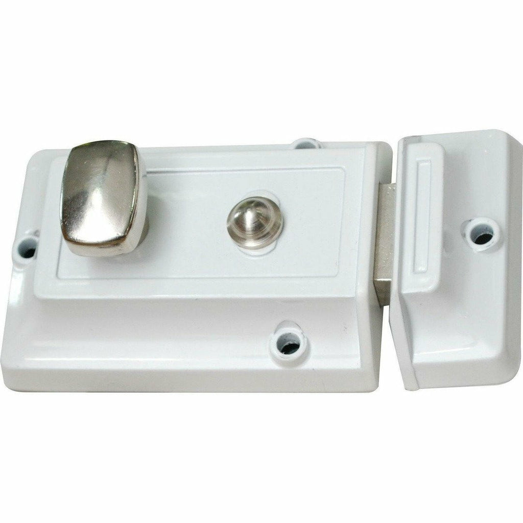 White night latch with chrome knob - Decor Handles