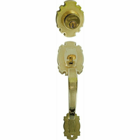 Entrance grip handle with deadbolt - brass - Decor Handles