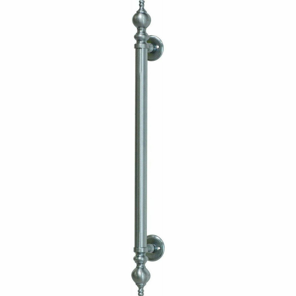 Solid brass straight pull handle with finials - Decor Handles