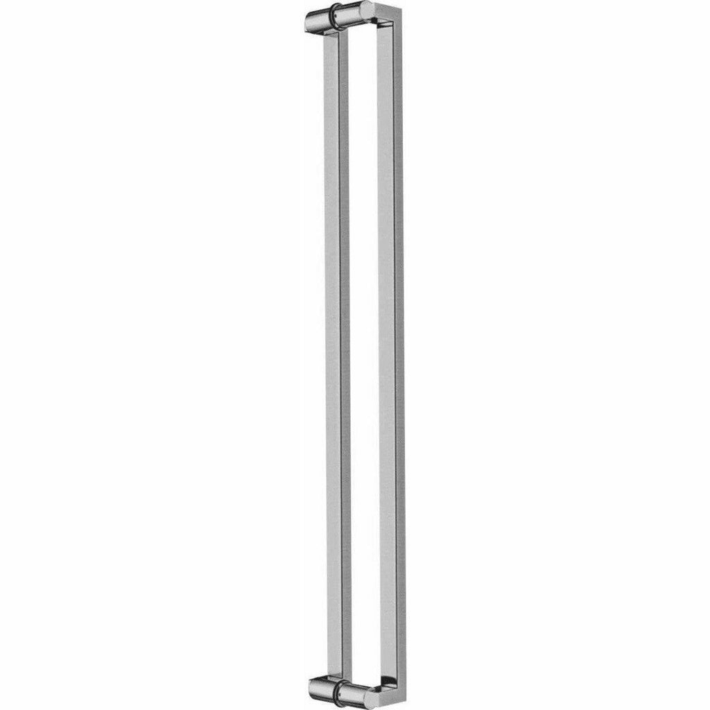 Square offset stainless steel pull handle with round arms - Decor Handles